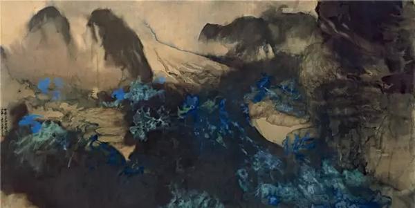 张大千  瑞士雪山 镜心 设色绢本 173×344cm  1899-1983作 成交价1.6445亿元