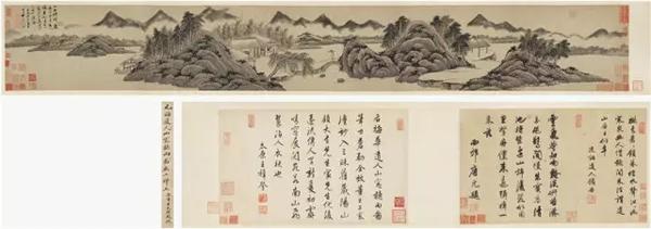 吴镇 山窗听雨图  本幅28×203cm;题跋28×45cm×2 手卷 纸本 成交价1.725亿元