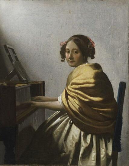 《坐在维金纳琴旁的女子》 维米尔 1670-72年